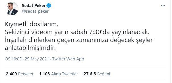 Sedat Peker, Yayınlayacağı Yeni Video için Saat Verdi