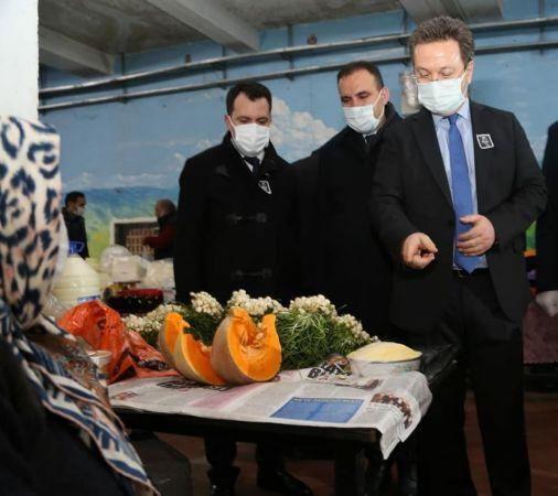 Giresun Valisi Ünlü, koronavirüs vakalarına karşı halk pazarında denetim yaptı