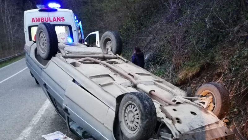 Giresun'da karantinada olması gereken 2 kişi trafik kazasında yaralandı