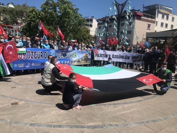 Giresun'da, İsrail'in Mescid-i Aksa'ya yönelik saldırıları protesto edildi