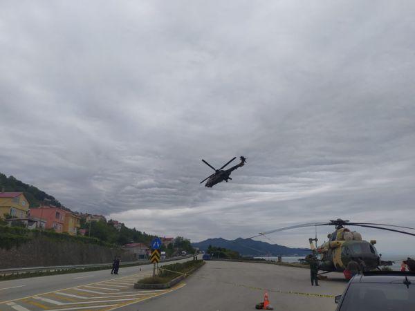 Giresun'da sahile zorunlu iniş yapan Azerbaycan'a ait askeri helikopterdeki arıza giderildi