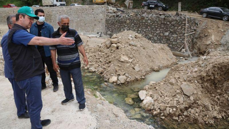 Vali Ünlü, Yağlıdere'de hasar onarım çalışmalarını denetledi