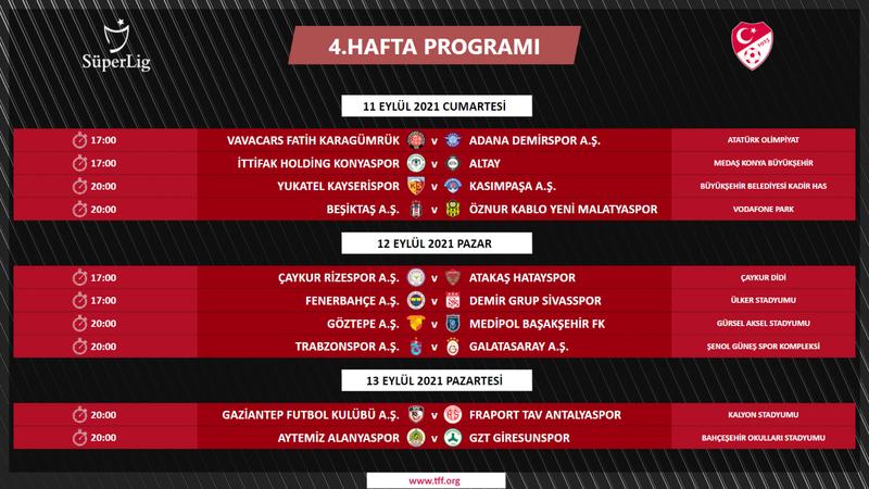 Süper Ligde 13 haftalık program açıklandı