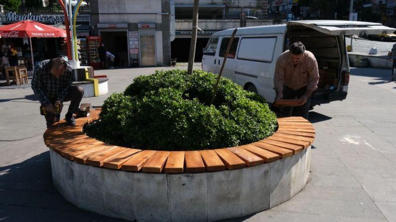 Giresun'da Meydanlardaki Oturma Grupları Yenileniyor