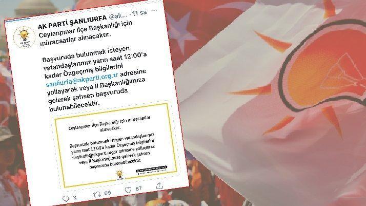 AK Parti Şanlıurfa'dan ilçe başkanlığı ilanı
