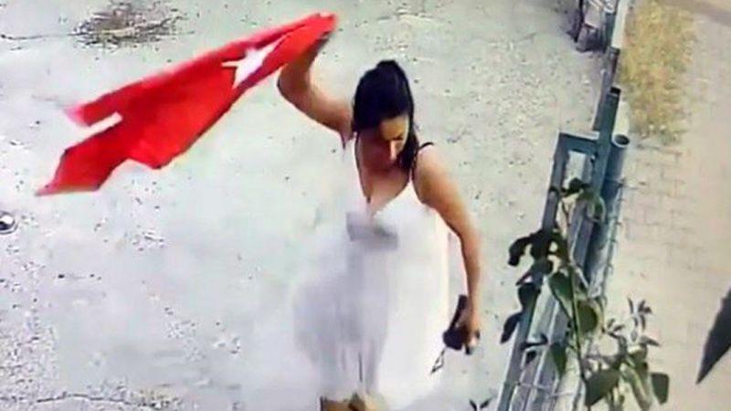 Türk bayrağını yırtan kadından skandal ifadeler