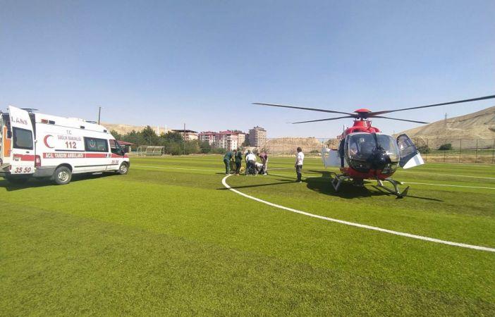 Ambulans helikopterle, kalp krizi geçiren kadın hastaneye kaldırıldı!