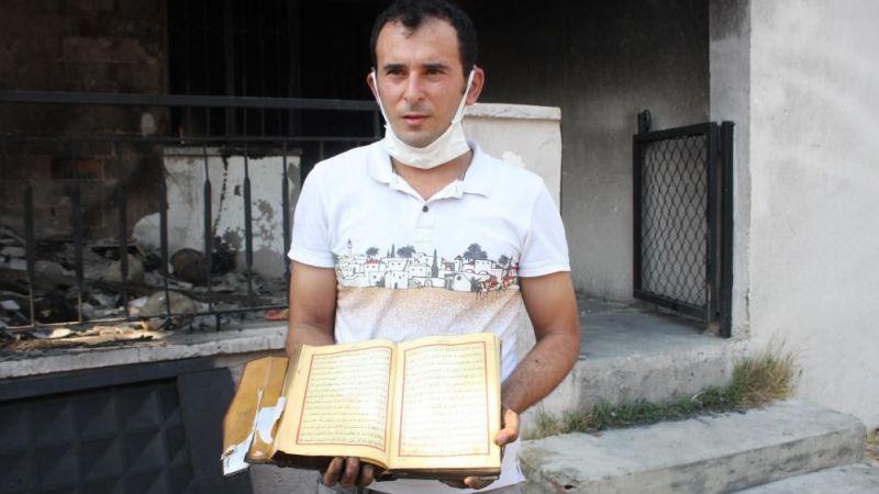 Küle dönen evde sadece Kur'an-ı Kerimler yanmadı
