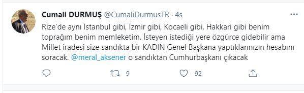 """Durmuş'tan Cumhurbaşkanı Erdoğan'a tepki; """"Meral Akşener o sandıktan cumhurbaşkanı çıkacak"""""""