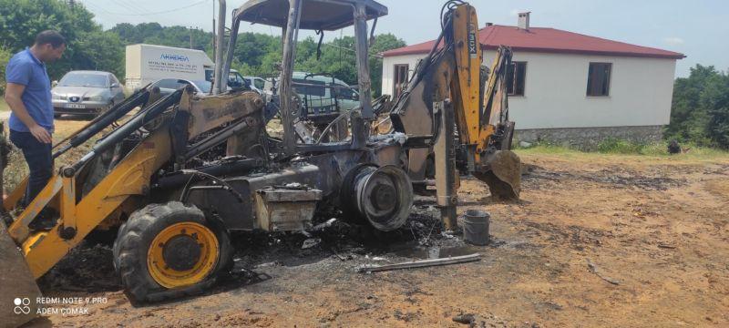 İş makineleri alev alev yandı