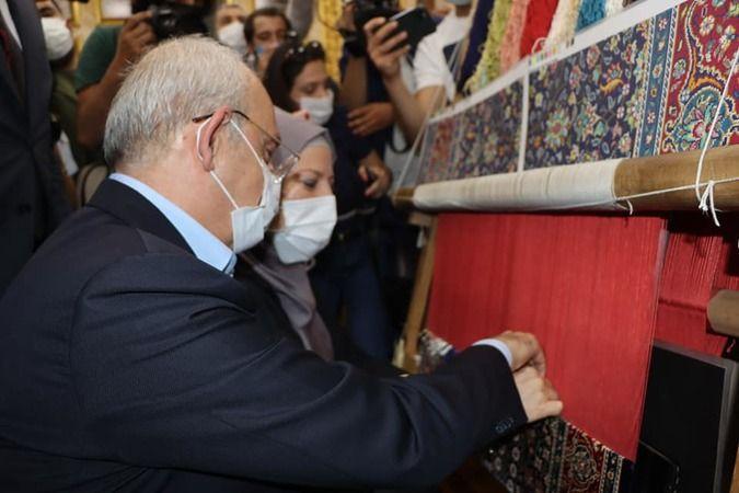 Kılıçdaroğlu Hereke'de halı dokudu