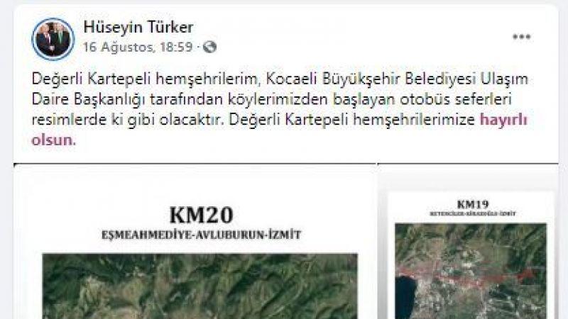 O bölgelere ulaşım müjdesini Kartepe Muhtarlar Derneği Başkanı Hüseyin Türker verdi