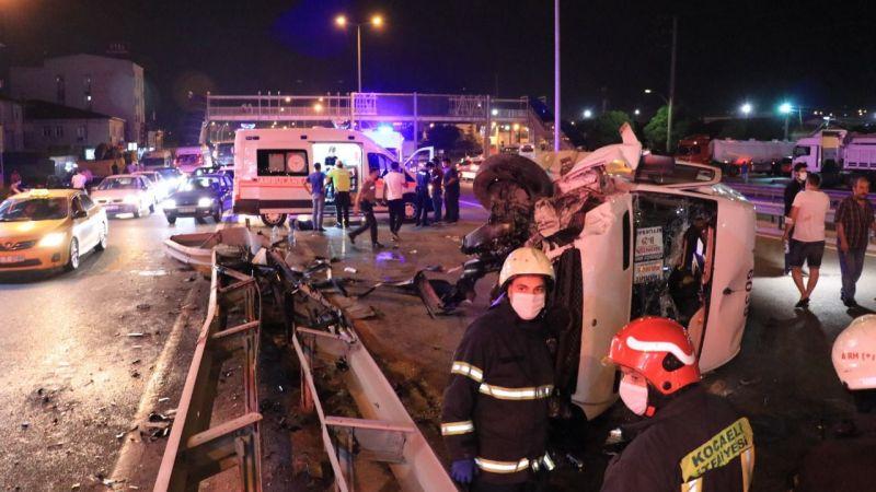7 işçinin yaralandığı kazanın görüntüleri ortaya çıktı