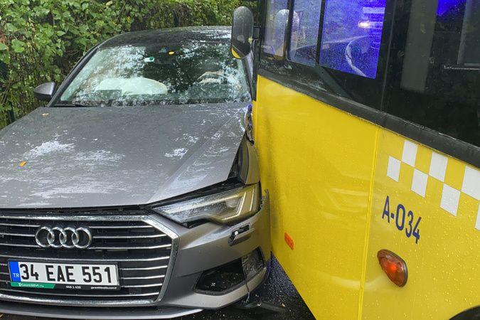 Virajı alamayan İETT otobüsü iki otomobile çarptı