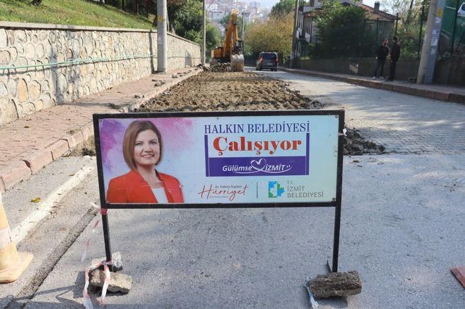 İzmit Belediyesi  Veli Ahmet'te yeni beton yol hazırlığına başladı
