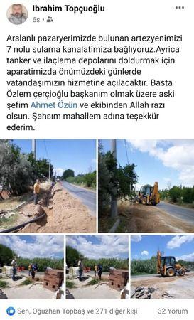 Arslanlı Mahallesi'nden Topuklu Efe'ye Teşekkür