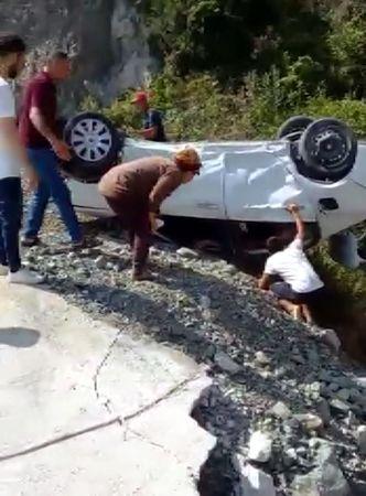 Aracı Takla Atan Şoförün Sözleri Şaşkına Çevirdi!