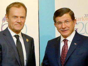 Başbakan Davutoğlu AB Konseyi Başkanı Donald Tusk ile Görüştü