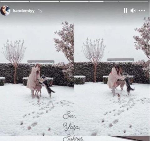 Kar yağışını gören Hande Erçel kendini şortla dışarı attı