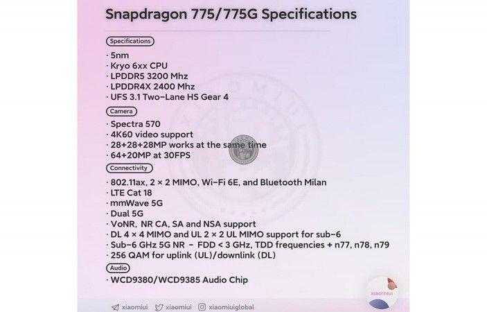 Snapdragon 775'in özellikleri