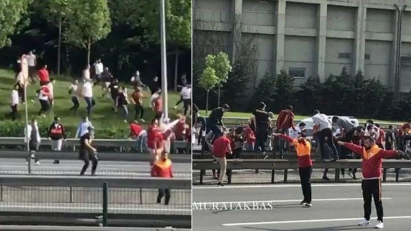 Galatasaray taraftarı TEM otoyolunu birbirine kattı