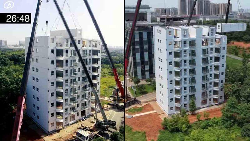 28 günde 10 katlı bir bina yaptılar