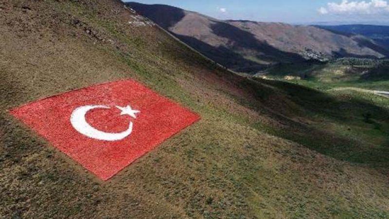 Şehitler için 138 ton taşla Türk bayrağı yaptılar