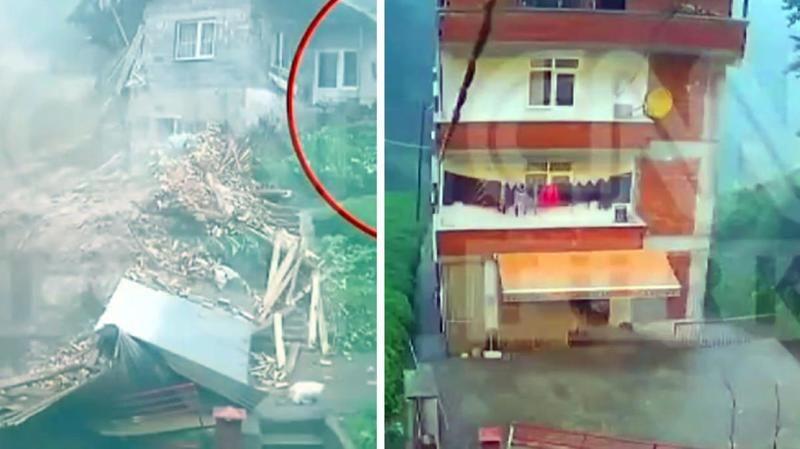 Kameralara yansıyan görüntüde Rize'deki sel felaketi nedeniyle bir binanın yarısı koptu