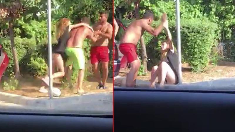 Tartıştığı eşine sokak ortasında tekmeli yumruklu şiddet uyguladı