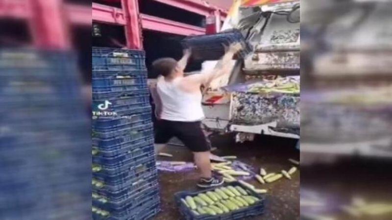 Sebzeleri çöp kamyonuna döktü o anları kameraya aldı
