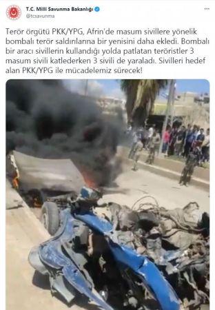 Suriye'de Afrin'e bombalı araçla korkunç  saldırı