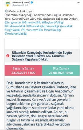 Meteoroloji'den Doğu Karadeniz ve Doğu Anadolu için 'sel' uyarısı