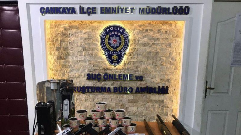Ankara'da uyuşturucu yetiştirilen eve polis baskını