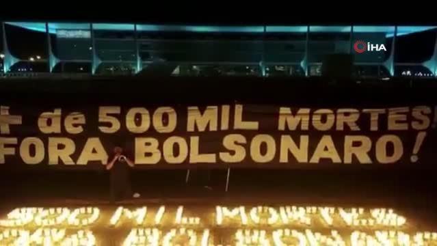 Brezilya'da 18 şehirde Covid-19'dan ölenlerin anısına 500'er mum yakıldı