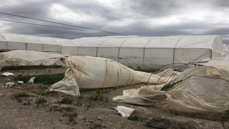 Nevşehir'de fırtına seraları yıktı