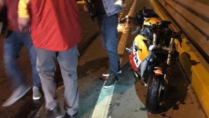 Hızın alamayan motosiklet kaza yaptı