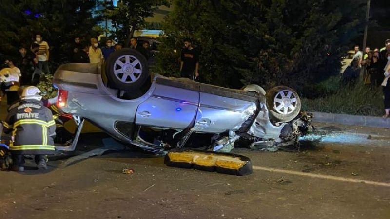 Araç takla attı:4 yaralı