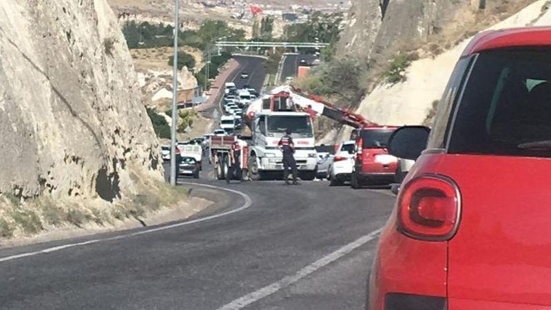 Ürgüp'te kaza nedeniyle trafik felç oldu