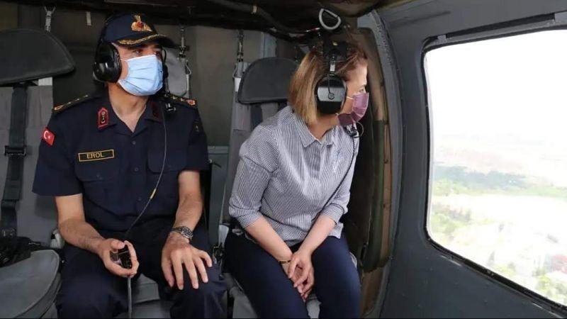 Vali Becel helikopter ile trafik denetimine katıldı