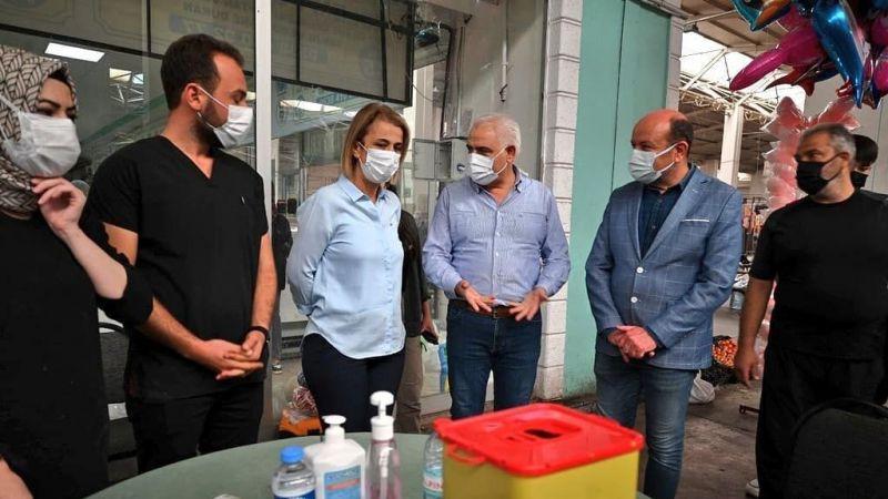 Kapalı pazar yerine aşı standı kuruldu