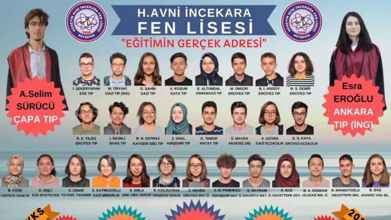 Nevşehir H.Avni İncekara Fen Lisesinden büyük başarı