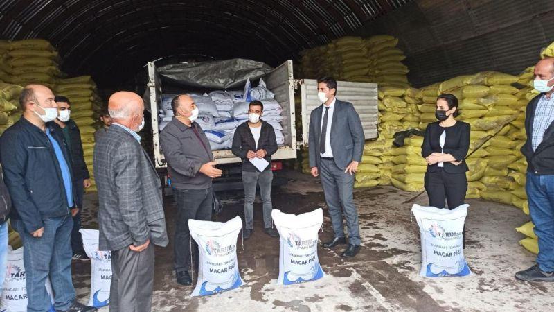 Çiftçiye hibeli tohum dağıtıldı