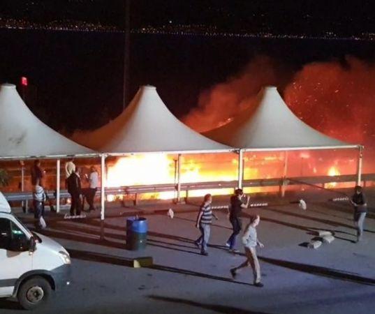 TEM'de seyir halindeki tırın dorsesi alev alev yandı