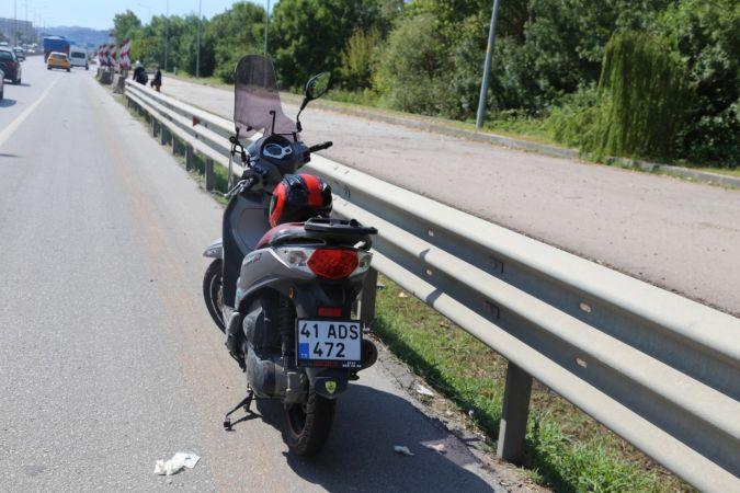 D-100'de motosikletin devrilmesi ile sürücü yaralandı