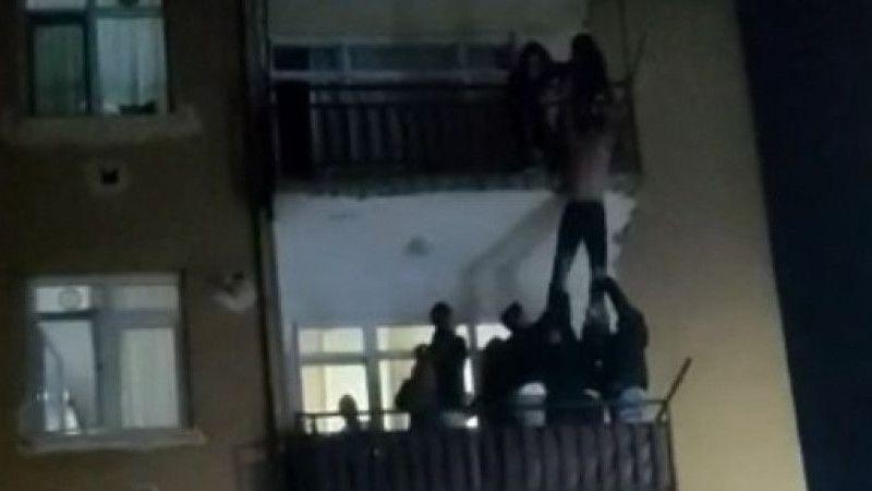 Sevgilisi ile tartışıp balkondan atlamaya kalkıştı!