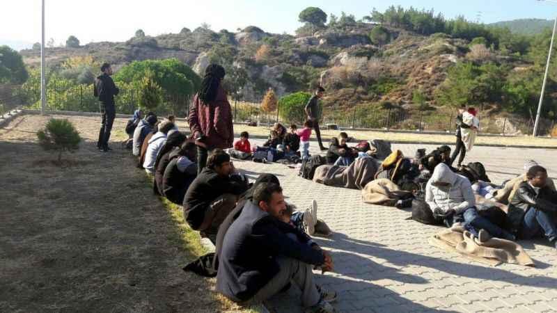 Foça'da kayalıklara saklanmış 46 kaçak yakalandı
