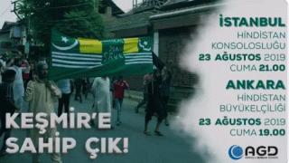AGD, işgalci Hindistan'ın Keşmir'deki uygulamalarını protesto edecek