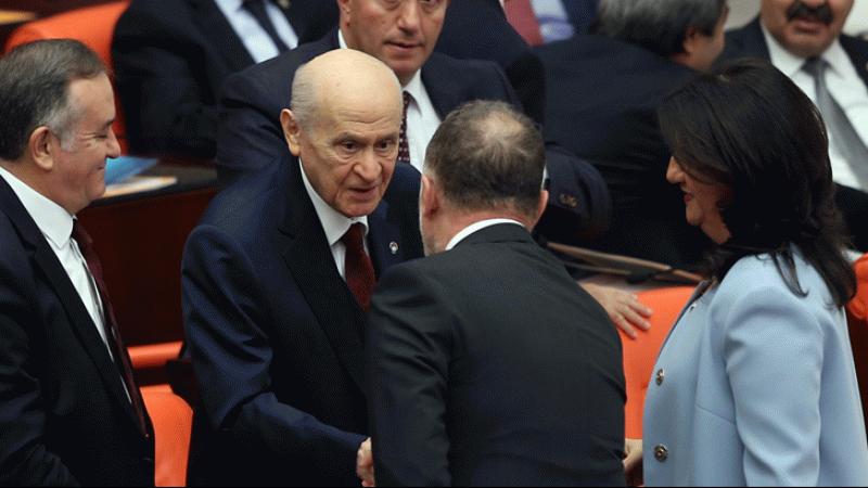 Bahçeli, HDP Eş Genel Başkanları Buldan ve Temelli ile tokalaştı