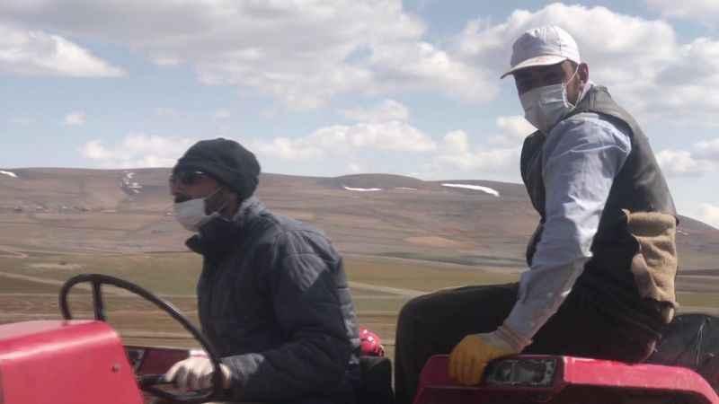 Bayburt'ta çiftçiler eldiven ve maske takıp tarlaya indi