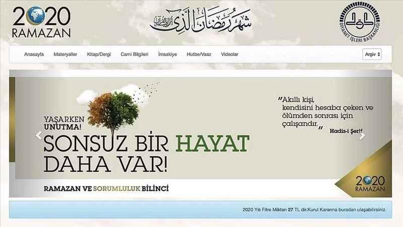 Diyanetin ramazana özel sitesi güncellendi